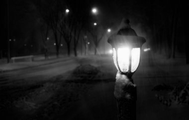 Snowy night blizzard streetlight lantern