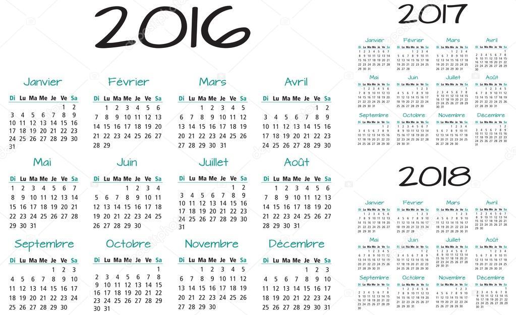français 2016 2017 et 2018 calendrier vector — image vectorielle