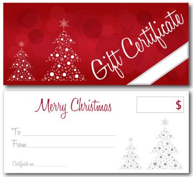 Red christmas gift certificate