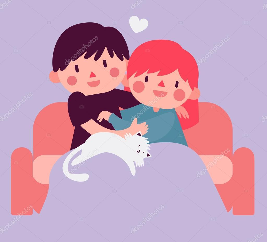 猫が付いているソファーにぴったりのカップル — ストックベクター