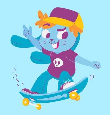 Cute Bunny Doing Tricks on Skateboard
