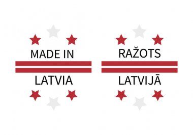 Made in Latvia labels in English and in Latvian languages. Quality mark vector icon. Perfect for logo design, tags, badges, stickers, emblem, product package, etc. icon