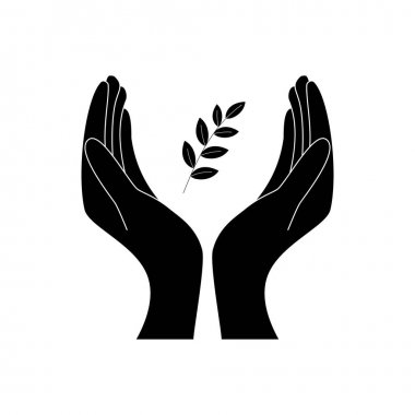 Eco friendly icon with girls hands and leaves - concept vector. The graphic illustration also represents nature protection, ecology, environment conservation, spa, etc isolated on white icon