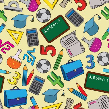 Seamless Pattern with school doodles