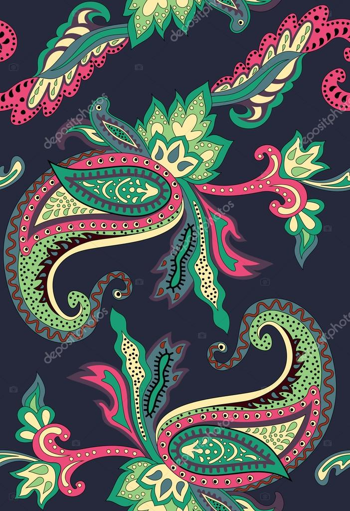 Paisley pattern on black background