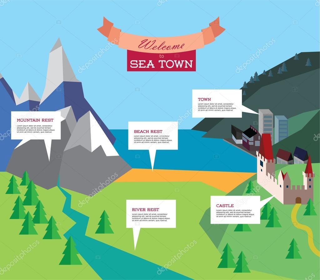 tourism infographic. Vector resort illustration