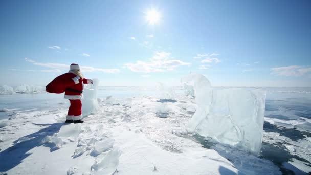 Santa kikötések a befagyott tó