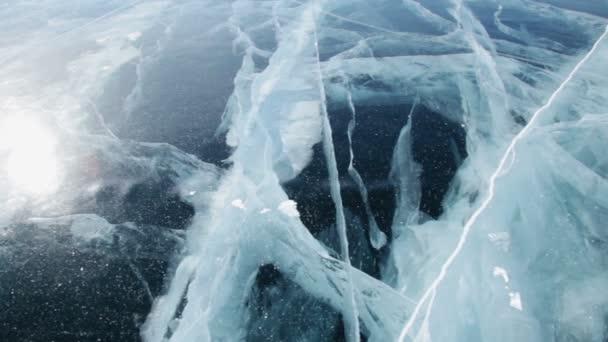 Panorama z ledové plochy krása strukturu ledu jezera Bajkal