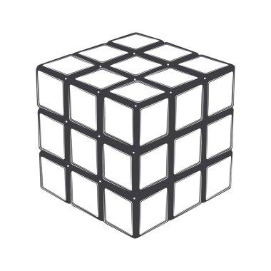 Rubik's cube isolated on a white background. Line art. Modern design. Vector illustration.