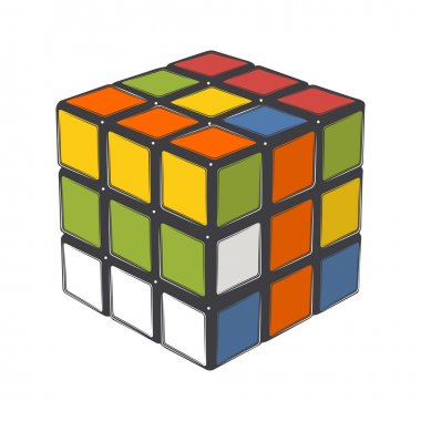 Rubik's cube isolated on a white background. Color line art. Modern design. Vector illustration.