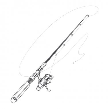 Fishing rod, spinning with bait isolated on a white background. Line art. Retro design. Vector illustration.