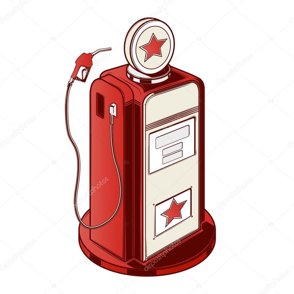 pompe de station essence isol e sur fond blanc dessin au trait de couleur design r tro. Black Bedroom Furniture Sets. Home Design Ideas
