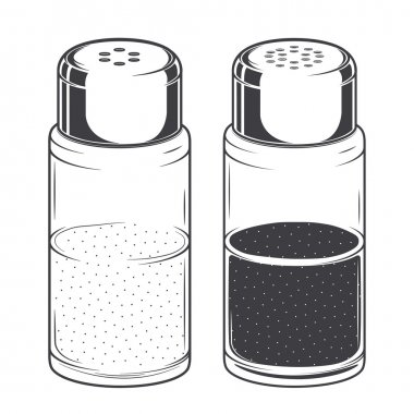 Glass salt and pepper shakers isolated on a white background. Monochromatic Line art. Retro design. Vector illustration.