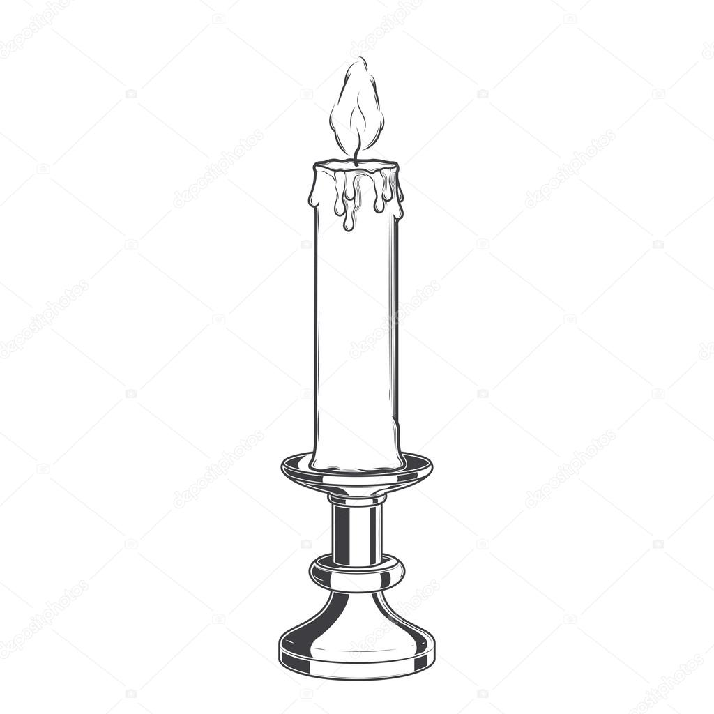 Burning Old Candle And Vintage Candlestick Isolated On A