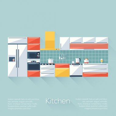 Kitchen Cover with Fridge, Stove, Dishwasher, Toaster and Microwave. Flat style with long shadows. Modern trendy design. Vector illustration.