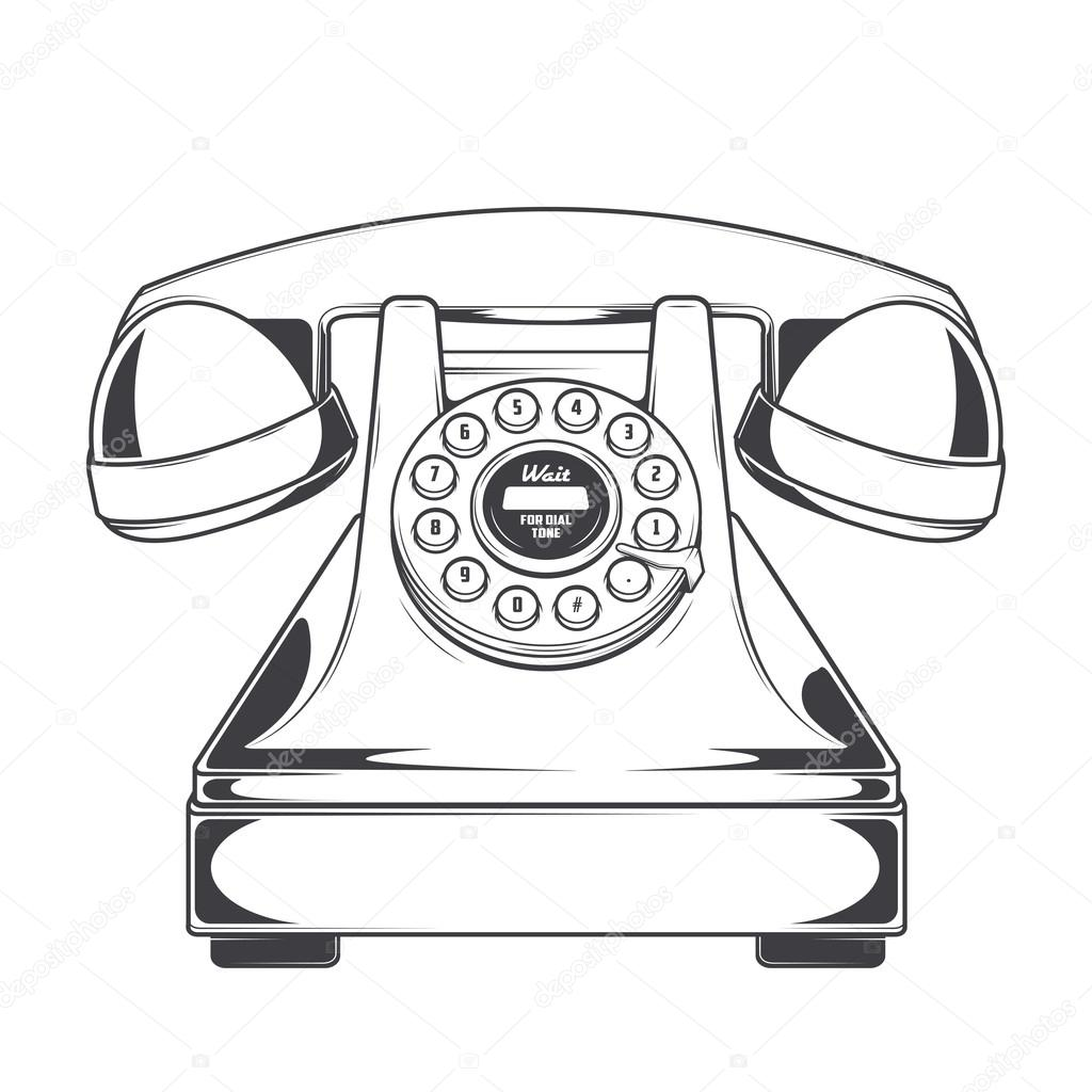 vintage phone with buttons dial ring isolated on a white background Phone App vintage phone with buttons dial ring isolated on a white background monochromatic line art retro design vector illustration vector by v snitovets