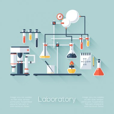 Chemistry education research laboratory equipment. Flat style with long shadows. Modern trendy design. Vector illustration.