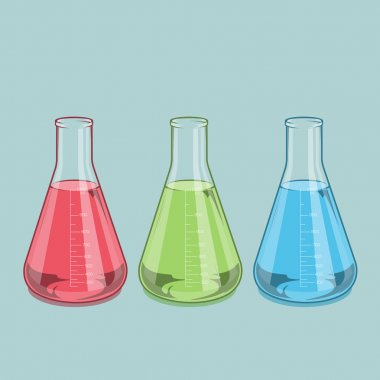 Chemical laboratory glassware isolated. Red, green and blue liquid. Erlenmeyer flask 1000ml. Colored line art. Retro design. Vector illustration.