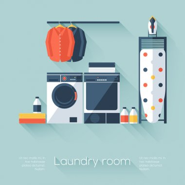 Laundry room with washing machine and dryer. Flat style with long shadows. Modern trendy design. Vector illustration.
