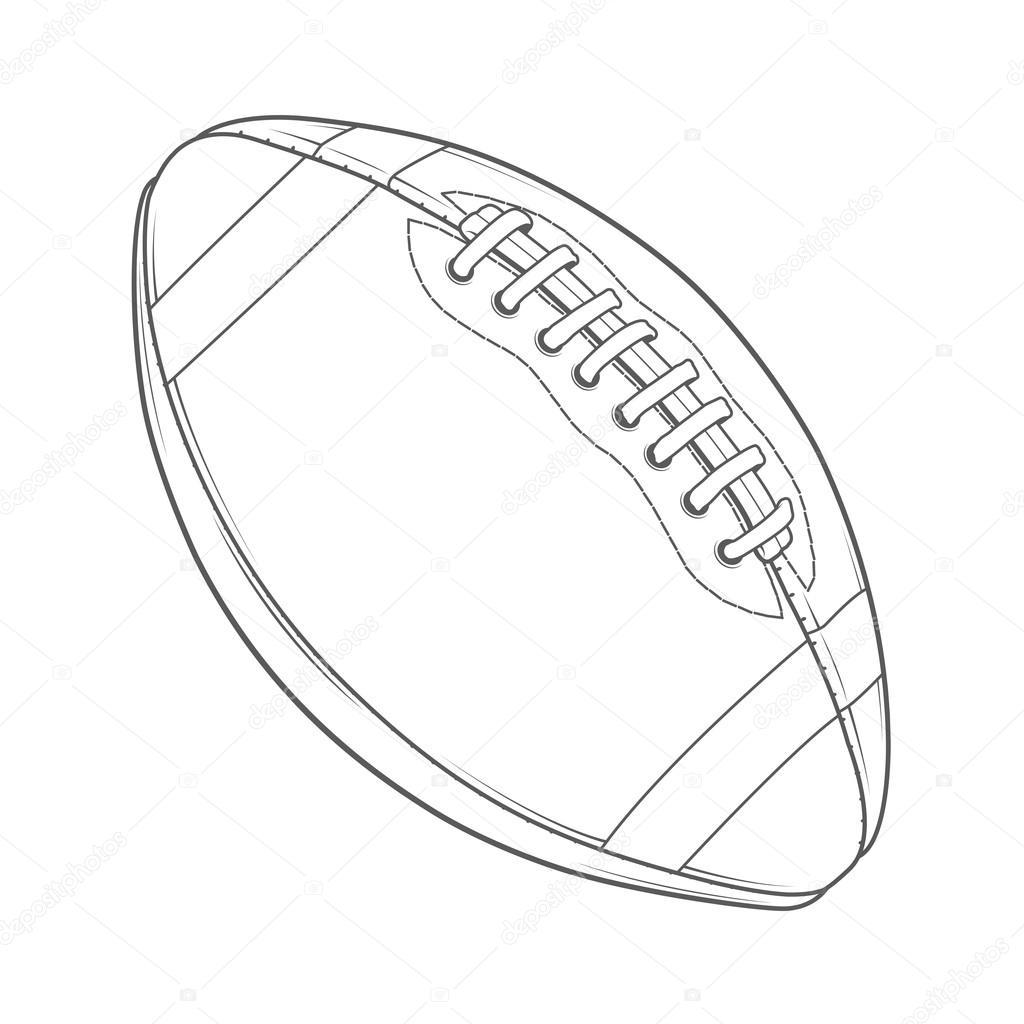 Ballon de football am ricain isol sur fond blanc dessin au trait monochromatique design r tro - Dessin football americain ...