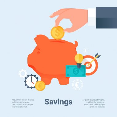 Piggy Bank with Hand and Coin. Saving Money and Investment Business Concept. Flat Style with Long Shadows. Material Design. Vector Illustration.