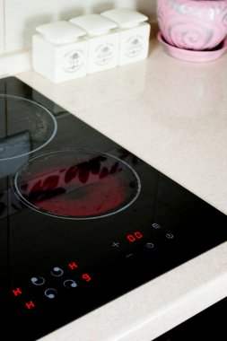 Kitchen, cooking surface, electric stove