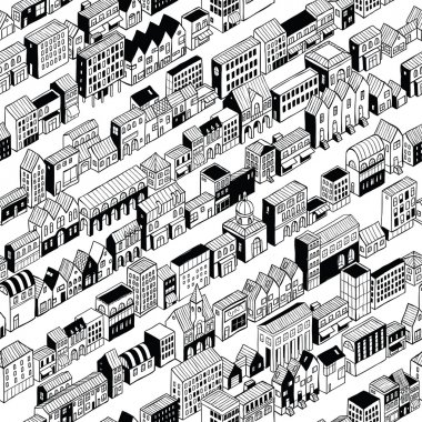 Row City Seamless Pattern Isometric