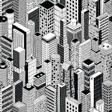 Skyscraper City Seamless Pattern - medium