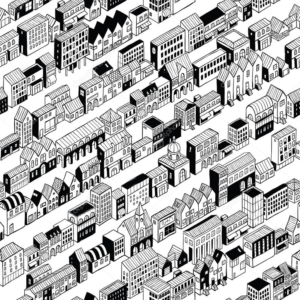 Wiersz Miasta Wzór Izometryczny Grafika Wektorowa Vook