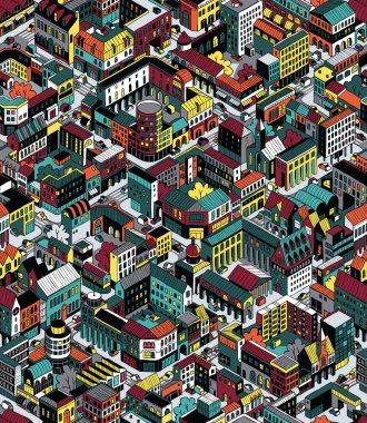 Colorful City Blocks Isometric Seamless Pattern - Medium size