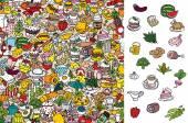 najít jídlo, vizuální hra. řešení ve skryté vrstvě
