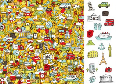Find right travel icons, visual game. Solution in hidden layer!