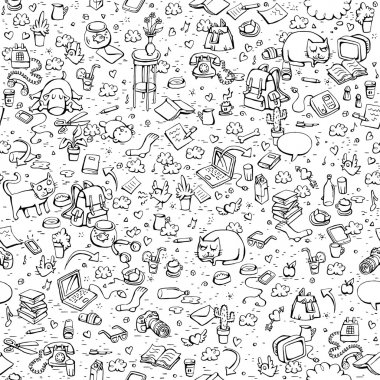 Technological Everyday Objects seamless pattern in black and whi