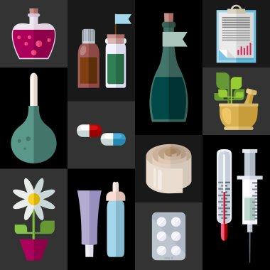 Medicine Items Flat Icons