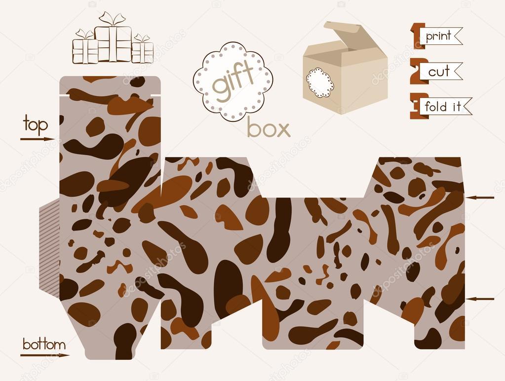 Caja de regalo para imprimir con patrón moteado — Vector de stock ...