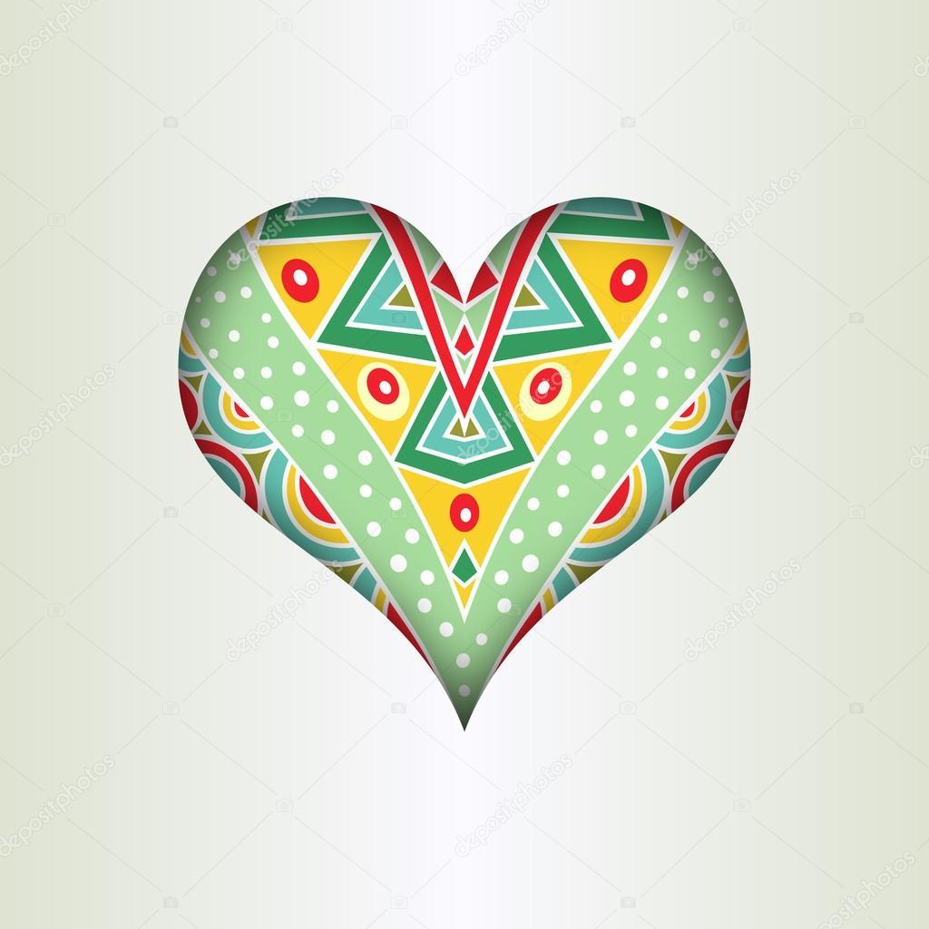 Valentinstag Karte Vorlage mit reich verzierten Herzen — Stockvektor ...