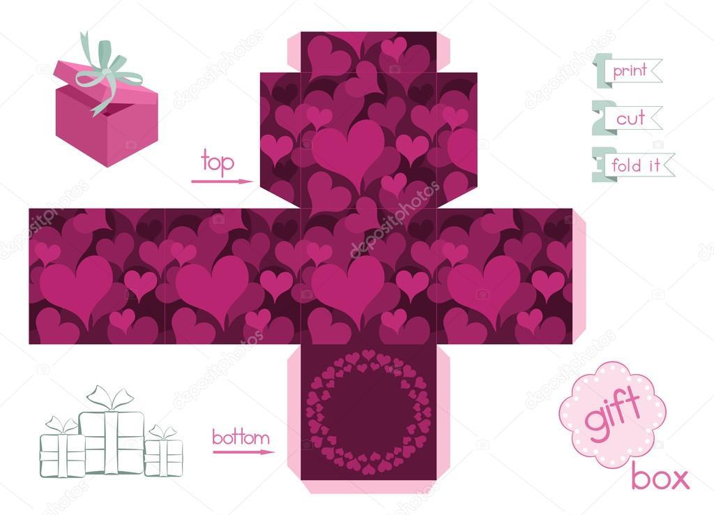 Caixa De Presente Para Impressão Com Corações Vetores De Stock