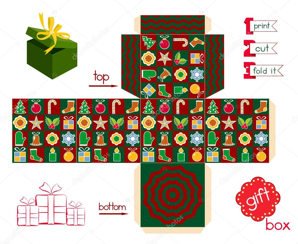 picture regarding Printable Gift Box identified as Printable Present Box Xmas Period Inventory Vector © KsanasK