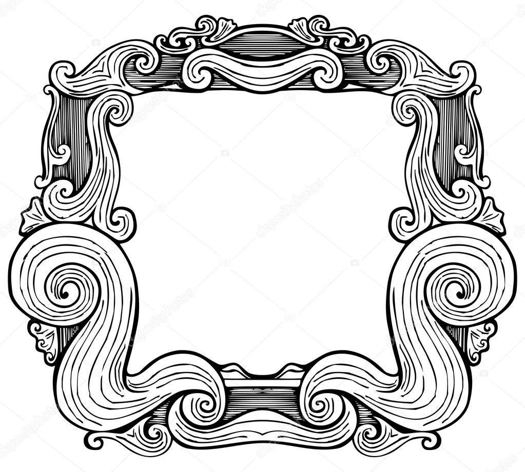 marco antiguo grabado — Vector de stock © KsanasK #54833847