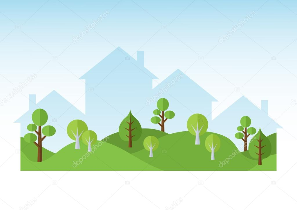 Green Trees And Houses Silhouettes