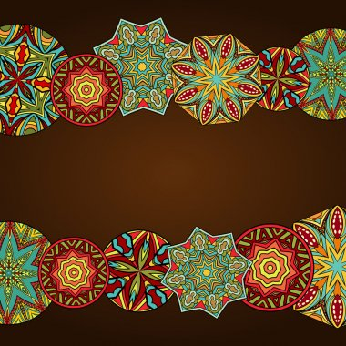Fancy Mandalas At Abstract Frame