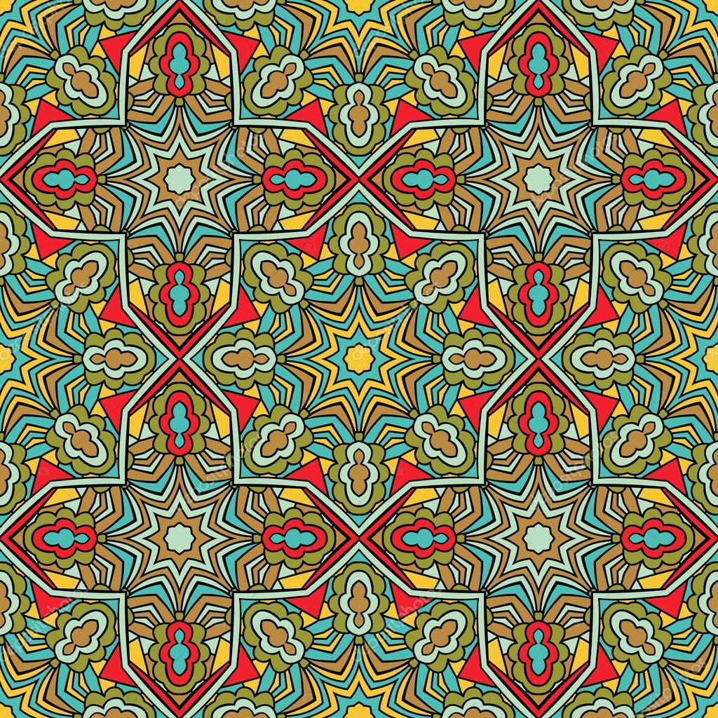 Arabic Seamless Pattern Stained Glass Style Stock Vector