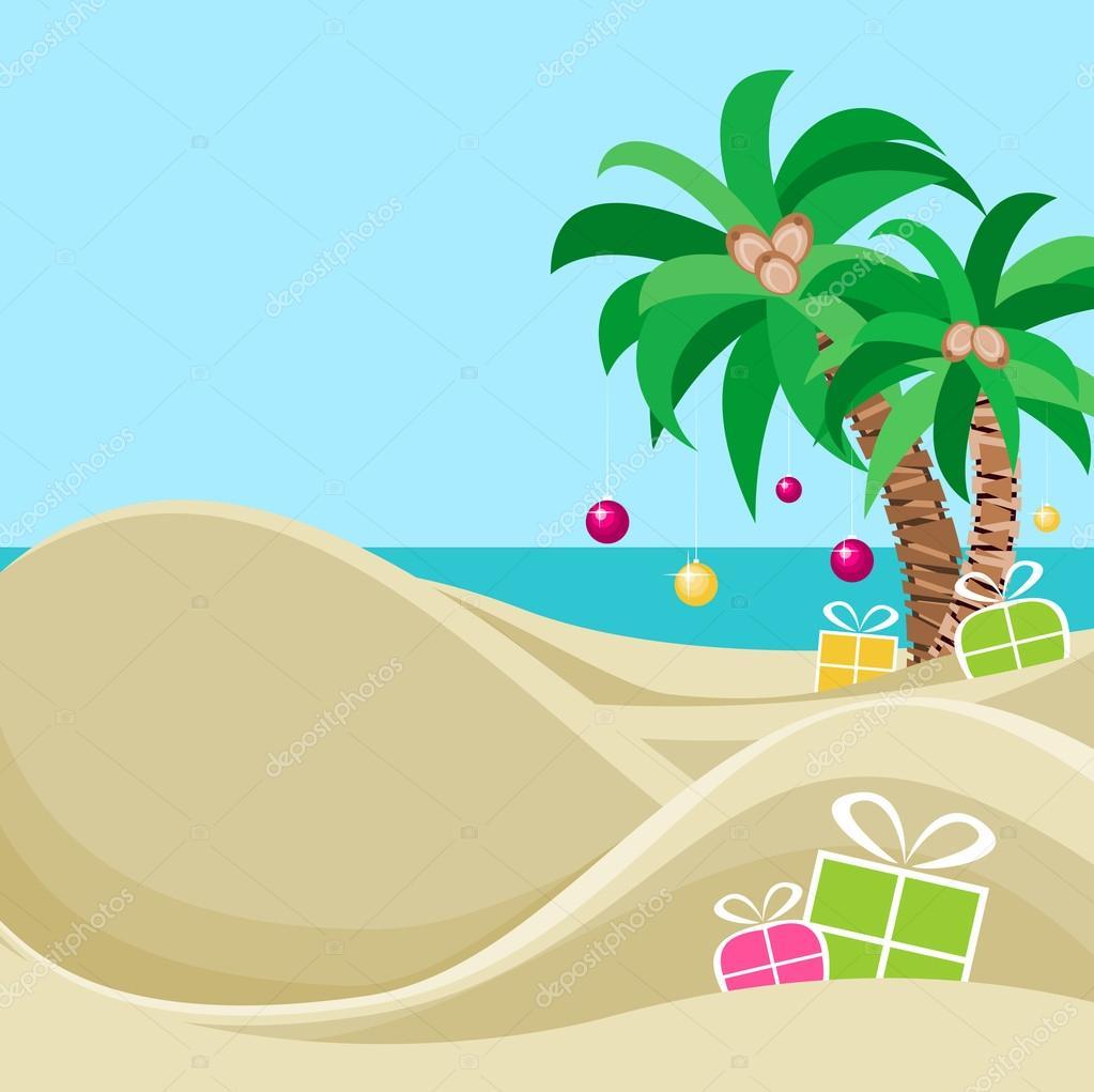 Merry Christmas At The Tropical Beach Card Template — Stock Vector ...