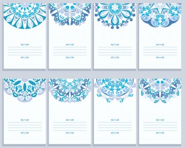 Set Of Cards With Abstract Gzhel Patterns