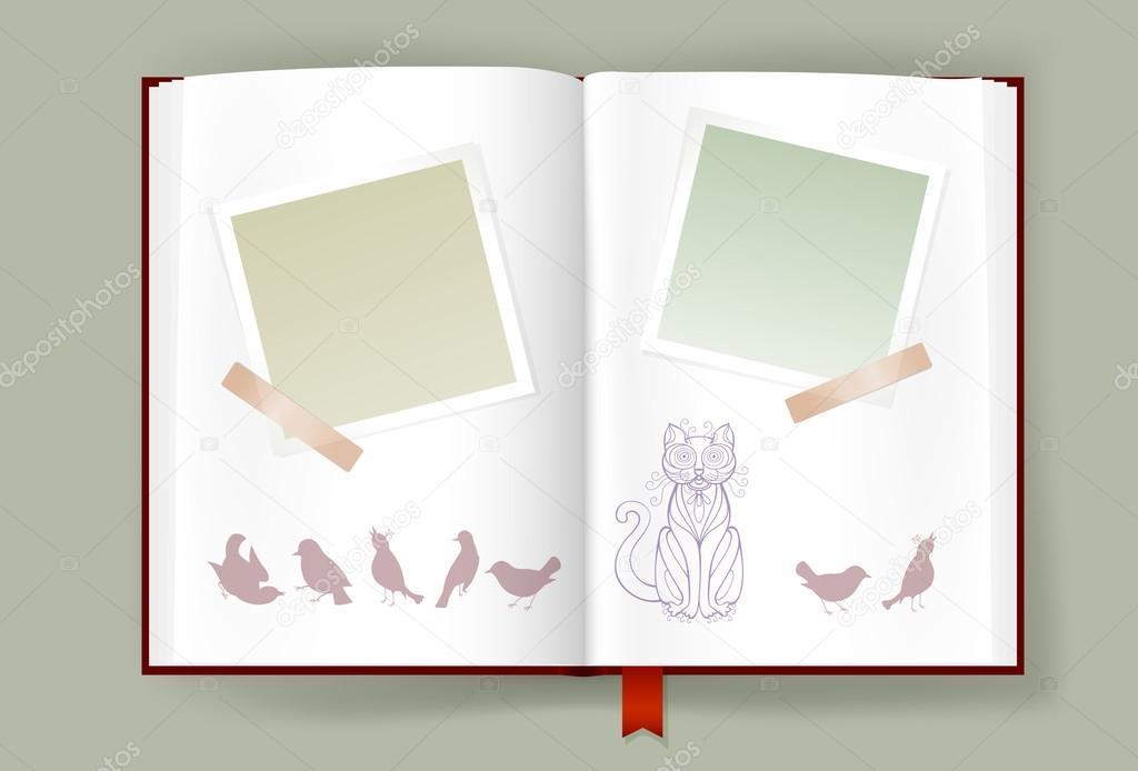 Album mit leeren Bilderrahmen und lustige Katze und Vögel eröffnet ...