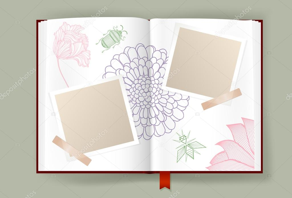 Opened Album With Blank Photo Frames Decorated By Nature Elements