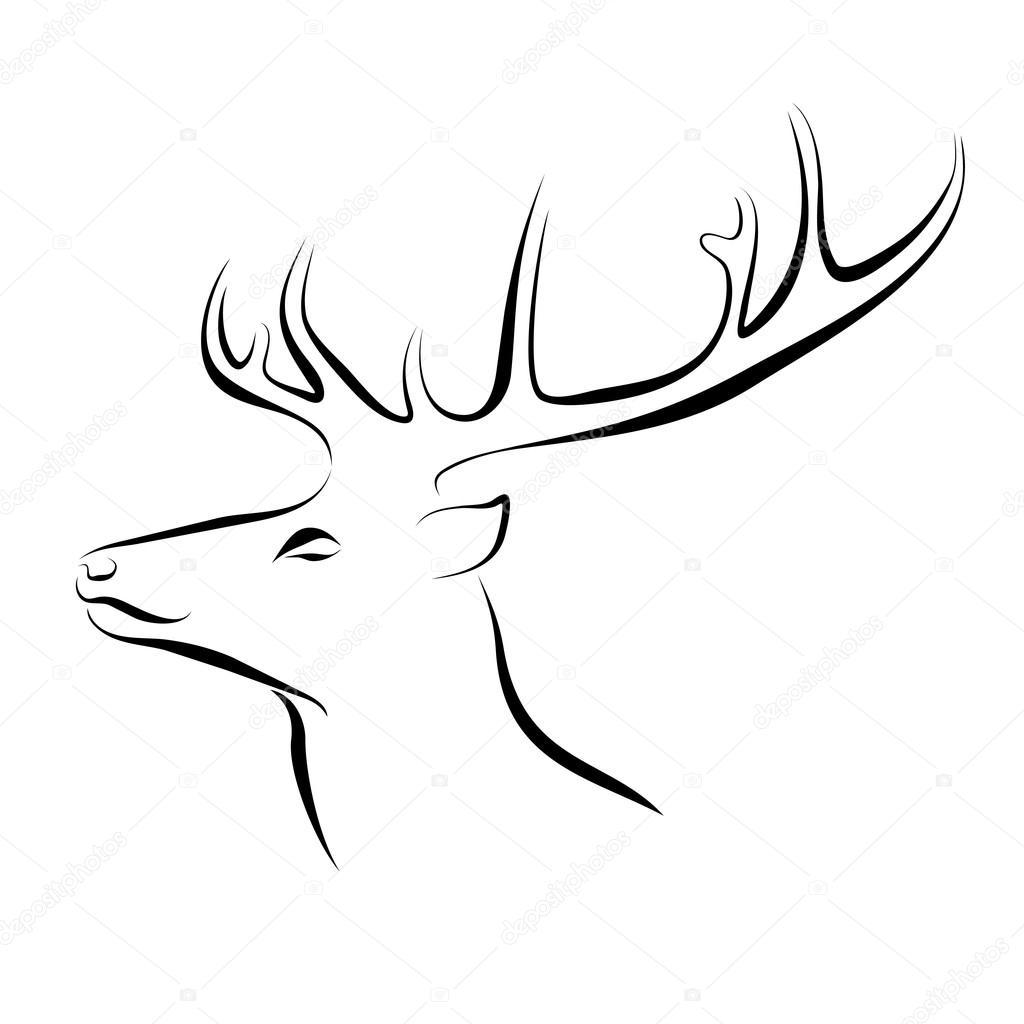 T te de cerf d 39 encre dessin au trait image vectorielle - Comment dessiner un cerf ...