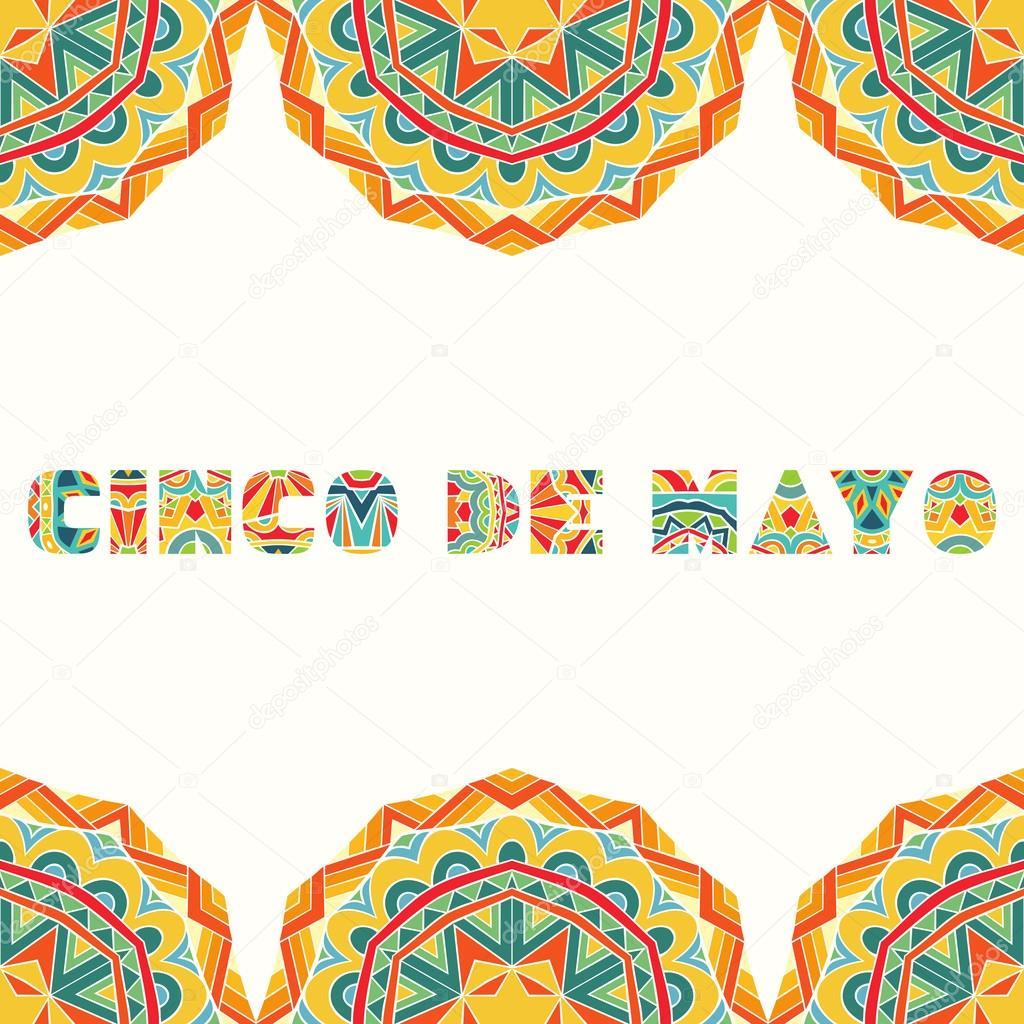 Cinco De Mayo Card With Bright Mexican Border