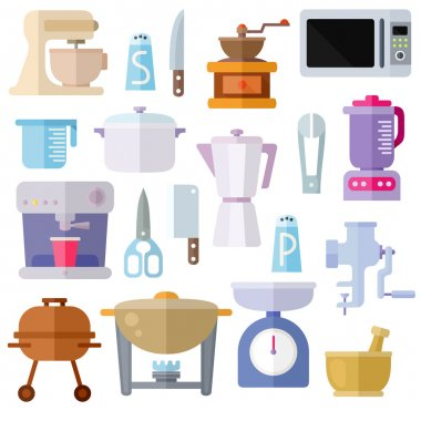 Kitchen Utensils Theme Flat Icons On White Background