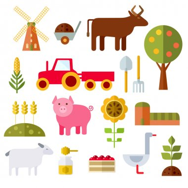 Farm Flat Icons On White Background